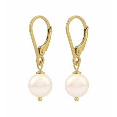 Earrings cream pearl - silver gold plated - 1212
