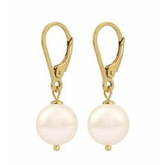 Earrings cream pearl - silver gold plated - 1213