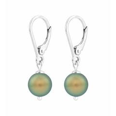Earrings green pearl - silver - 1224