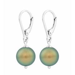 Earrings green pearl - silver - 1225