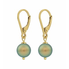 Earrings green pearl - gold plated silver - 1226