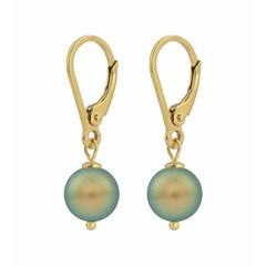 Ohrringe grüne Perle - Silber vergoldet - 1226