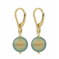 Earrings green pearl - silver gold plated - 1227
