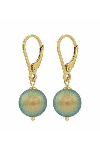 Ohrringe grüne Perle 10mm - Silber vergoldet - ARLIZI 1227 - Noa