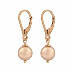 Earrings rose gold pearl - rose gold plated silver - 1229