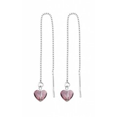 Earrings pink crystal heart - silver - 1248