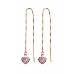 Durchzieher Ohrringe rosa Herz - rosé - 1249
