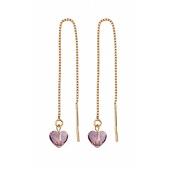 Earrings pink crystal heart - rose gold - 1249