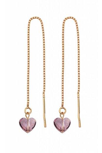 Durchzieher Ohrringe - rosa Swarovski Kristall Herz - Silber rosé vergoldet - ARLIZI 1249 - Emma
