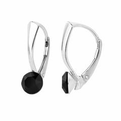 Earrings Swarovski crystal 6mm - silver - 1252