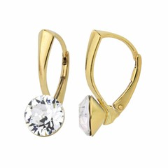 Earrings Swarovski crystal 8mm - silver gold plated - 1261