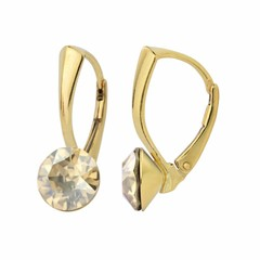 Earrings Swarovski crystal 8mm - silver gold plated - 1265
