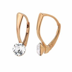 Earrings Swarovski crystal 6mm - silver rose gold plated - 1270