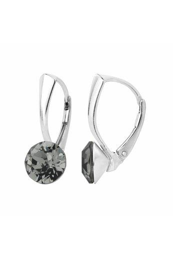 Ohrringe grau Swarovski Kristall 8mm - Silber - ARLIZI 1255 - Lucy