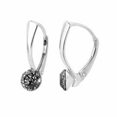 Oorbellen zwart patina kristal 6mm - zilver - 1258
