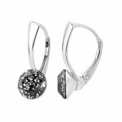 Oorbellen zwart patina kristal 8mm - zilver - 1259