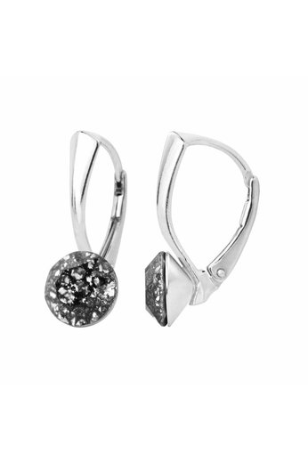 Ohrringe schwarz Patina Swarovski Kristall 8mm - Silber - ARLIZI 1259 - Lucy