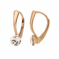 Earrings crystal 6mm - silver rose gold plated - 1274