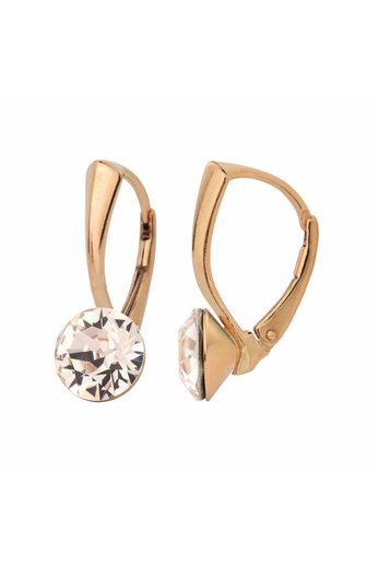 Ohrringe champagnefarbig Swarovski Kristall 8mm - 18K rosé vergoldet 925 Silber - ARLIZI 1275 - Lucy