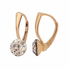 Earrings crystal 8mm - silver rose gold plated - 1279