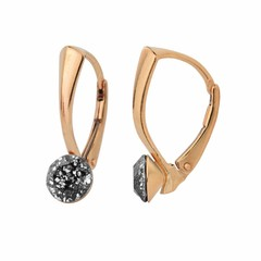 Earrings black crystal 6mm - silver rose gold plated - 1280