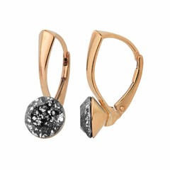 Earrings black crystal - silver rose gold plated - 1281