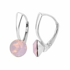 Oorbellen roze opaal kristal 8mm - zilver - 1282