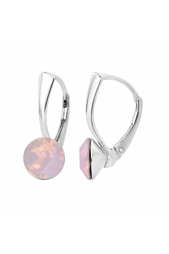 Ohrringe rosa Opal Swarovski Kristall 8mm - Sterling Silber - ARLIZI 1282 - Lucy