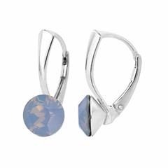 Oorbellen blauw opaal kristal 8mm - zilver - 1283