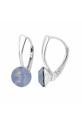 Ohrringe blau Opal Swarovski Kristall 8mm - 925 Silber - ARLIZI 1283 - Lucy