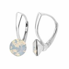 Oorbellen wit opaal kristal 8mm - zilver - 1284