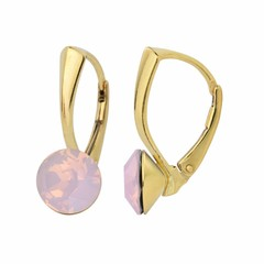 Earrings pink opal crystal 8mm - silver gold plated - 1285