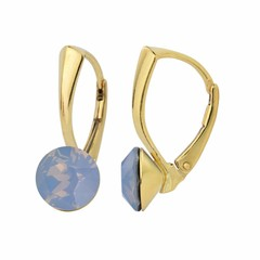 Earrings blue opal crystal 8mm - silver gold plated - 1286
