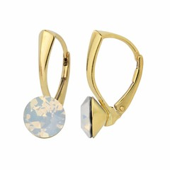 Earrings white opal crystal 8mm - silver gold plated - 1287