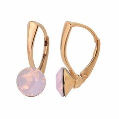 Earrings pink opal crystal - silver rose gold plated - 1288
