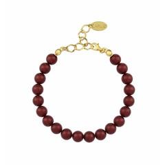 Parel armband rood - verguld zilver - 1130