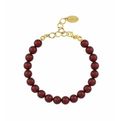 Pearl bracelet red - silver gold plated - 1130