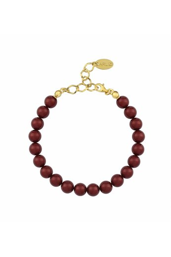 Perlenarmband bordeaux rot 8mm - Sterling Silber vergoldet - ARLIZI 1130 - Noa