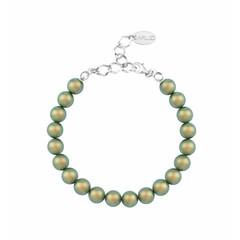 Parel armband groen - zilver - 1132