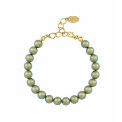 Parel armband groen - verguld zilver - 1133