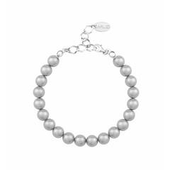 Perlenarmband hellgrau - 925 Silber - 1123