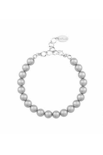 Perlenarmband hellgrau 8mm - Silber - ARLIZI 1123 - Noa