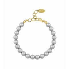 Pearl bracelet light grey - silver gold plated - 1124