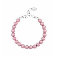 Parel armband roze - zilver - 1131