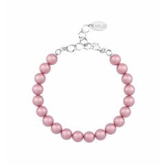 Pearl bracelet powder rose - silver - 1131
