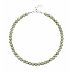 Pearl necklace green 8mm - silver - 1171