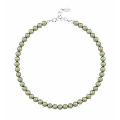 Perlenhalskette grün - 925 Silber - 1171