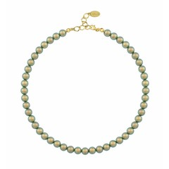 Pearl necklace green - silver gold plated - 1172
