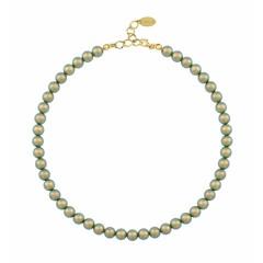 Perlenhalskette grün 8mm - Silber vergoldet - 1172