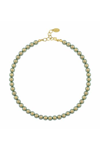Pearl necklace green 8mm - gold plated sterling silver - ARLIZI 1172 - Noa